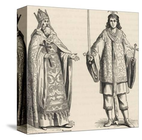 Prester John Legendary Christian King and Priest of the Middle Ages Pictured Here with His Page--Stretched Canvas Print