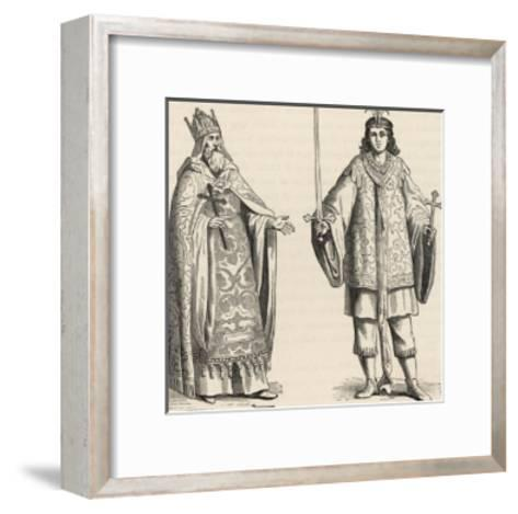 Prester John Legendary Christian King and Priest of the Middle Ages Pictured Here with His Page--Framed Art Print