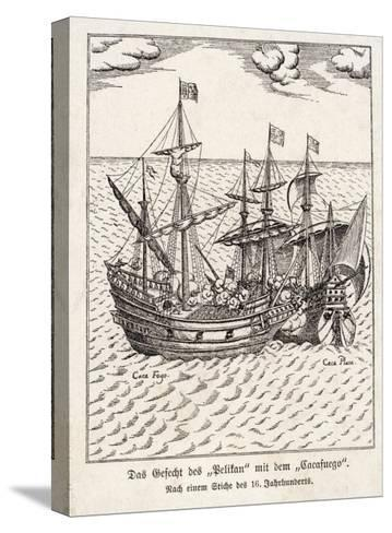 """The Golden Hind and the Spanish Ship """"Cacafuego"""" Have an Aggressive Encounter--Stretched Canvas Print"""