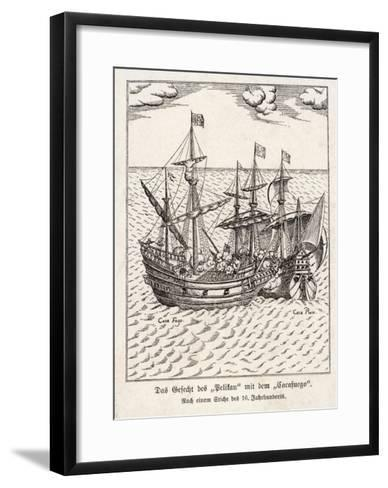 """The Golden Hind and the Spanish Ship """"Cacafuego"""" Have an Aggressive Encounter--Framed Art Print"""