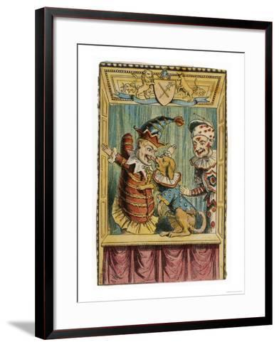 Mr. Punch with Toby the Dog and a Clown--Framed Art Print