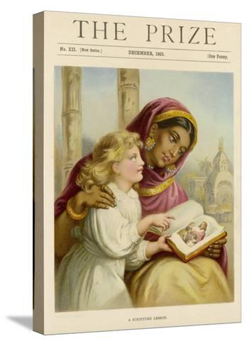 Little White Girl Teaches an Asian Woman About Jesus--Stretched Canvas Print