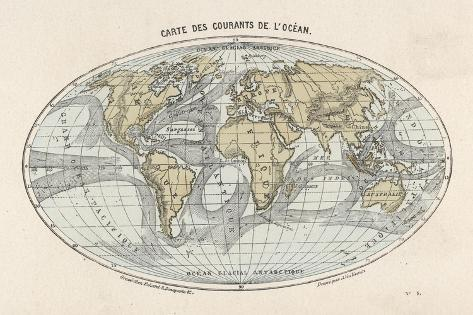 World Map of the Ocean Currents--Stretched Canvas Print
