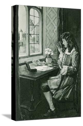 Anton Van Leeuwenhoek Dutch Naturalist Depicted Discovering the Microbe--Stretched Canvas Print