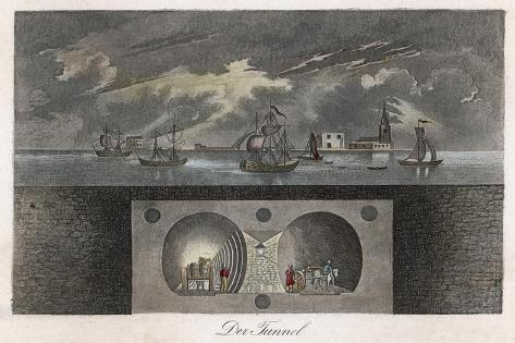 Brunel's Thames Tunnel, a Cross-Section Showing the Tunnel and Ships Sailing on the River--Stretched Canvas Print