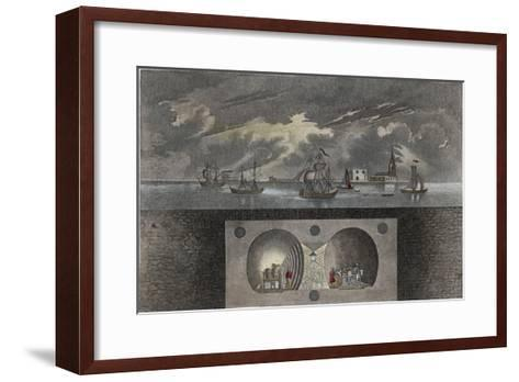 Brunel's Thames Tunnel, a Cross-Section Showing the Tunnel and Ships Sailing on the River--Framed Art Print