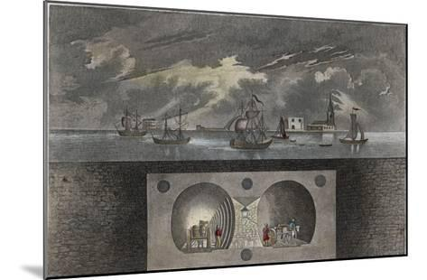 Brunel's Thames Tunnel, a Cross-Section Showing the Tunnel and Ships Sailing on the River--Mounted Giclee Print