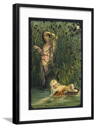 The Infant Moses is Cast Adrift Upon the Waters of the Nile--Framed Art Print