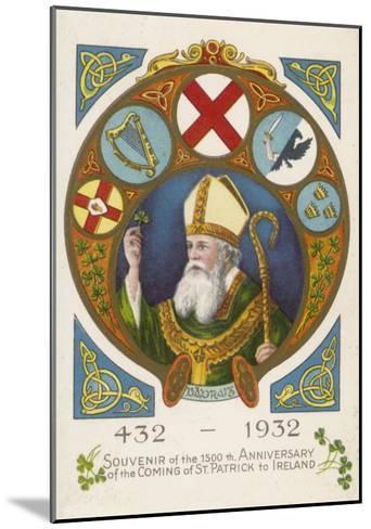 Saint Patrick Postcard Commemorating His Coming to Ireland 1500 Years Previously--Mounted Giclee Print