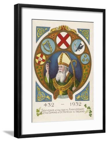 Saint Patrick Postcard Commemorating His Coming to Ireland 1500 Years Previously--Framed Art Print