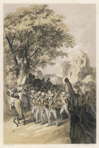 """Sikh Rebel """"Dewan Moolraj"""" in Custody after the Defeat of Sikh Forces in Mooltan--Stretched Canvas Print"""
