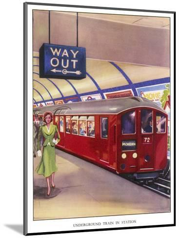 District Line Train in the Standard Red Colour on Its Way to Morden Southwest London--Mounted Giclee Print