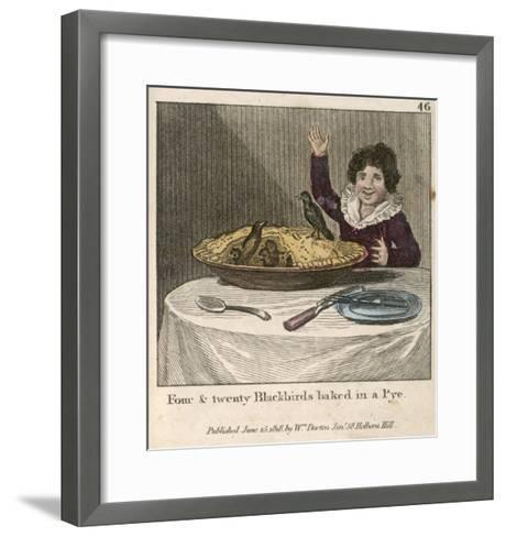 Sing a Song of Sixpence a Bag Full of Rye Four-And-Twenty Blackbirds Baked in a Pie--Framed Art Print