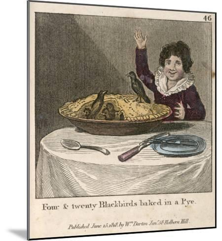 Sing a Song of Sixpence a Bag Full of Rye Four-And-Twenty Blackbirds Baked in a Pie--Mounted Giclee Print