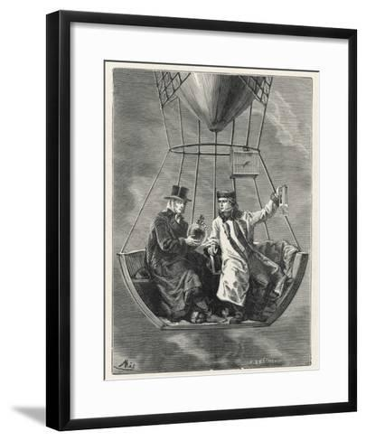 French Scientists Gay-Lussac and Biot Conduct Scientific Observations in a Balloon--Framed Art Print