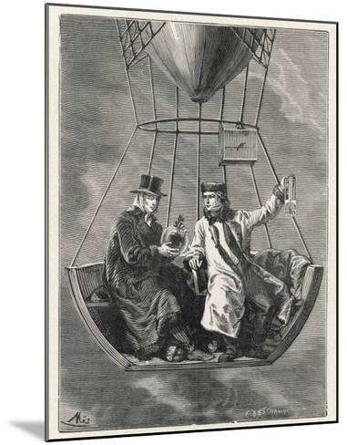 French Scientists Gay-Lussac and Biot Conduct Scientific Observations in a Balloon--Mounted Giclee Print