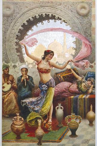 Middle Eastern Belly Dancer Dancing with a Veil to Musical Accompaniment--Stretched Canvas Print