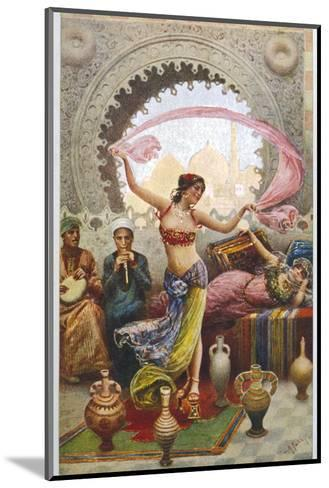 Middle Eastern Belly Dancer Dancing with a Veil to Musical Accompaniment--Mounted Giclee Print