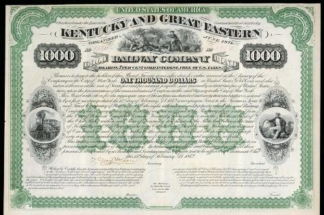 The Kentucky and Great Eastern Railway Company Gold Bond Share Certificate--Stretched Canvas Print