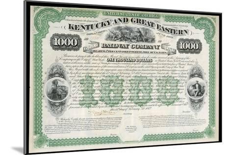 The Kentucky and Great Eastern Railway Company Gold Bond Share Certificate--Mounted Giclee Print