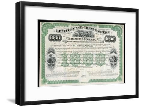 The Kentucky and Great Eastern Railway Company Gold Bond Share Certificate--Framed Art Print