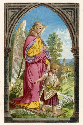 Guardian Angel Watches Over a Small Child as It Gathers Flowers in the German Countryside--Stretched Canvas Print