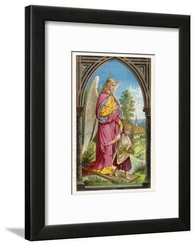 Guardian Angel Watches Over a Small Child as It Gathers Flowers in the German Countryside--Framed Art Print