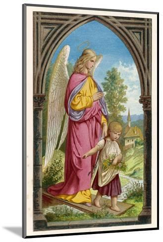 Guardian Angel Watches Over a Small Child as It Gathers Flowers in the German Countryside--Mounted Giclee Print