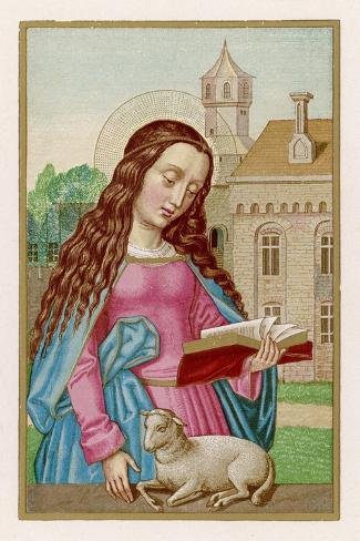Saint Agnes Reading a Book While a Very Small Lamb Rests Beside Her--Stretched Canvas Print