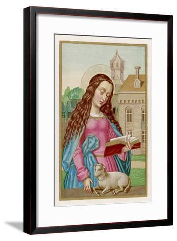 Saint Agnes Reading a Book While a Very Small Lamb Rests Beside Her--Framed Art Print