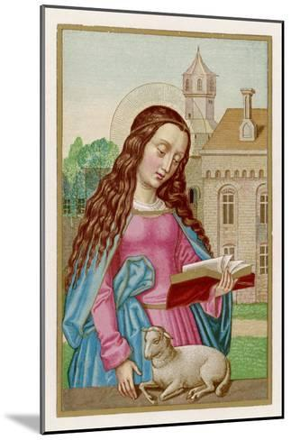 Saint Agnes Reading a Book While a Very Small Lamb Rests Beside Her--Mounted Giclee Print