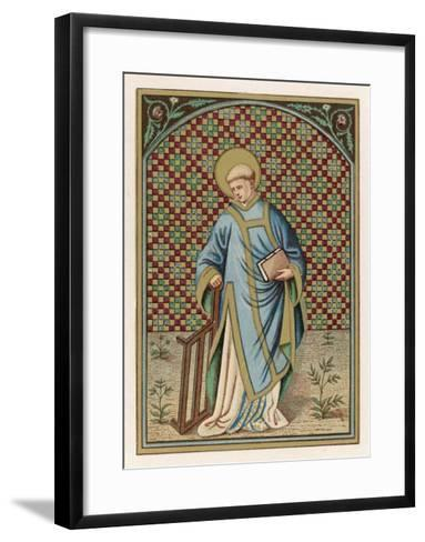 Saint Laurence of Rome Depicted with the Grid on Which He Will Soon be Martyred--Framed Art Print