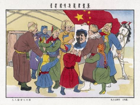 Poster of Mao, The Peasants' Hero--Stretched Canvas Print