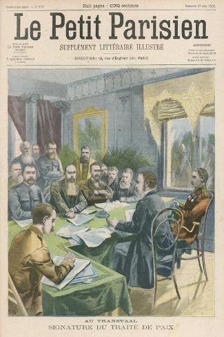 Peace the Peace Treaty is Signed in Pretoria by Christiaan de Wet and Kitchener--Stretched Canvas Print