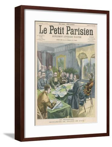 Peace the Peace Treaty is Signed in Pretoria by Christiaan de Wet and Kitchener--Framed Art Print