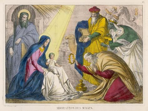 The Magi Present the Young Jesus with the Birthday Gifts They Have Brought Him--Stretched Canvas Print