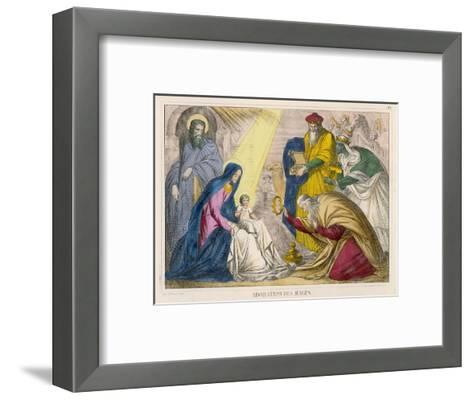 The Magi Present the Young Jesus with the Birthday Gifts They Have Brought Him--Framed Art Print