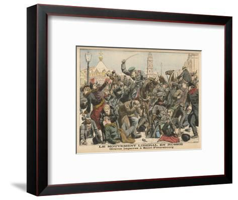 Demonstration by Liberals in St. Petersburg is Dealt with Savagely by the Police--Framed Art Print