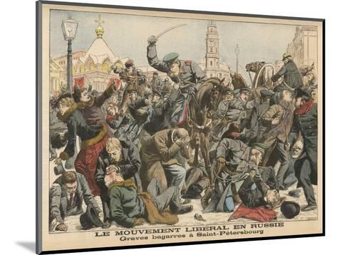 Demonstration by Liberals in St. Petersburg is Dealt with Savagely by the Police--Mounted Giclee Print
