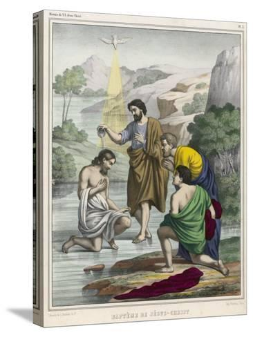 John Baptises Jesus While the Holy Dove Hovers Overhead--Stretched Canvas Print