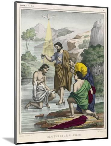 John Baptises Jesus While the Holy Dove Hovers Overhead--Mounted Giclee Print