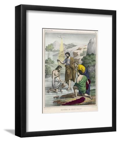 John Baptises Jesus While the Holy Dove Hovers Overhead--Framed Art Print