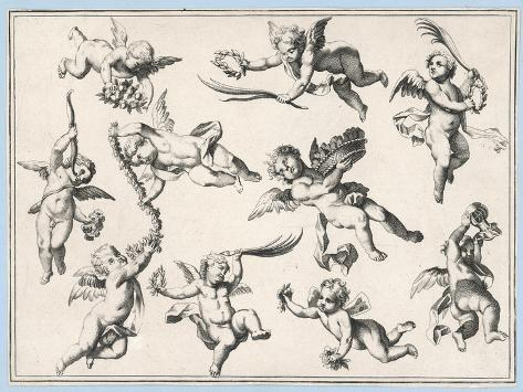 Selection of Cherubs in Various Positions--Stretched Canvas Print
