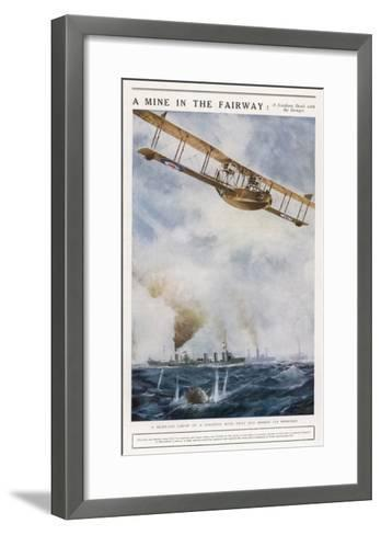 Seaplane Fires at a Breakaway Mine to Eliminate Its Threat to Nearby Ships--Framed Art Print