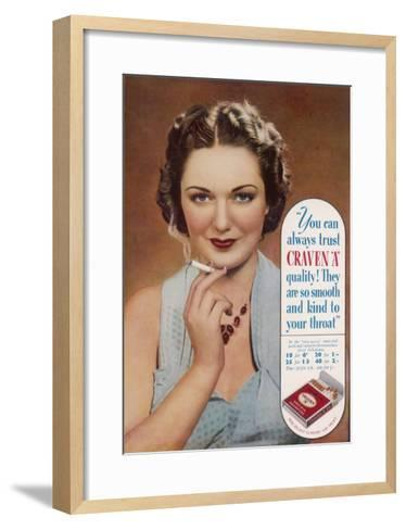 Craven a Cigarettes, You Can Always Trust the Quality--Framed Art Print