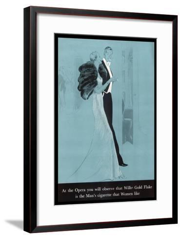 Wills's Gold Flake at the Opera, The Man's Cigarette That Women Like--Framed Art Print