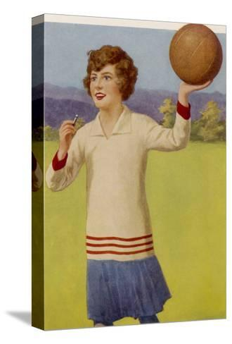 Women's Football: The Referee with Her Whistle About to Start the Game--Stretched Canvas Print