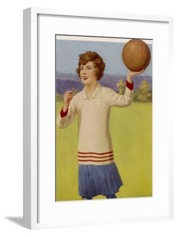 Women's Football: The Referee with Her Whistle About to Start the Game--Framed Art Print