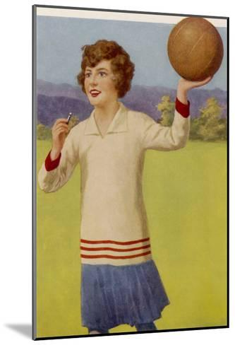 Women's Football: The Referee with Her Whistle About to Start the Game--Mounted Giclee Print