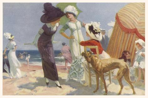 Elegance on the Beach, It's the Place to be Seen and a Lady Wants to be Seen at Her Best--Stretched Canvas Print